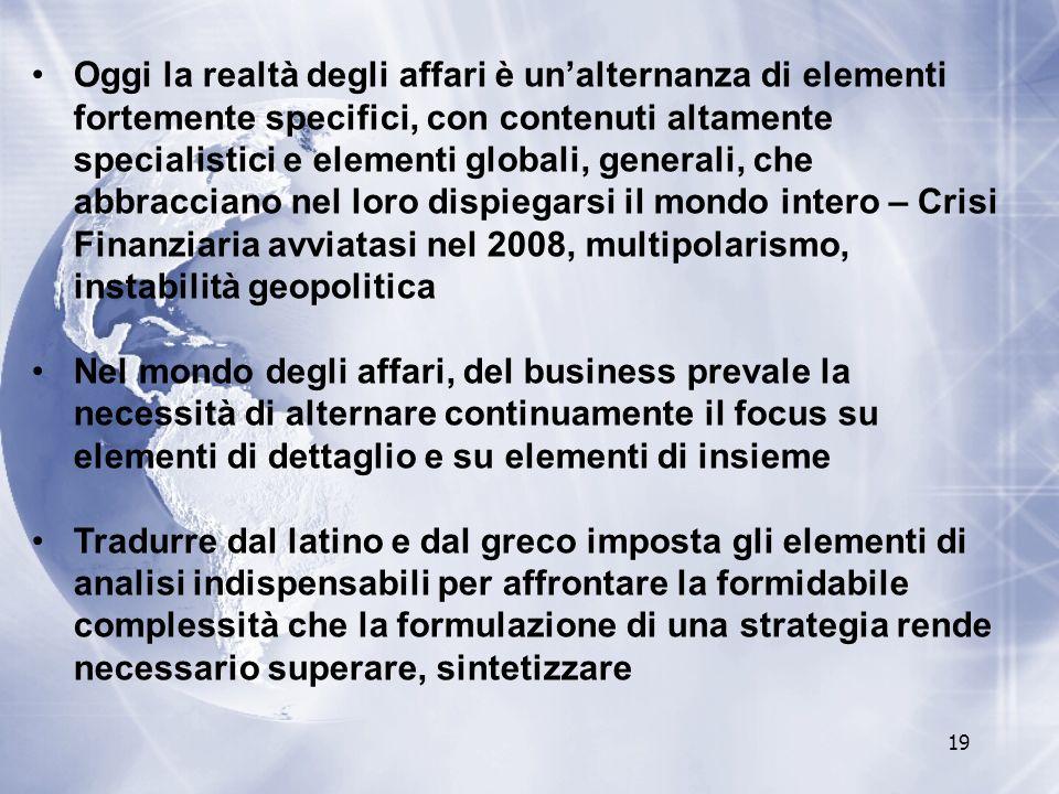Oggi la realtà degli affari è un'alternanza di elementi fortemente specifici, con contenuti altamente specialistici e elementi globali, generali, che abbracciano nel loro dispiegarsi il mondo intero – Crisi Finanziaria avviatasi nel 2008, multipolarismo, instabilità geopolitica