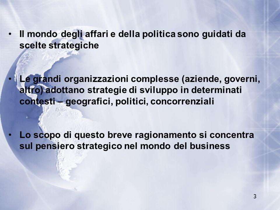 Il mondo degli affari e della politica sono guidati da scelte strategiche
