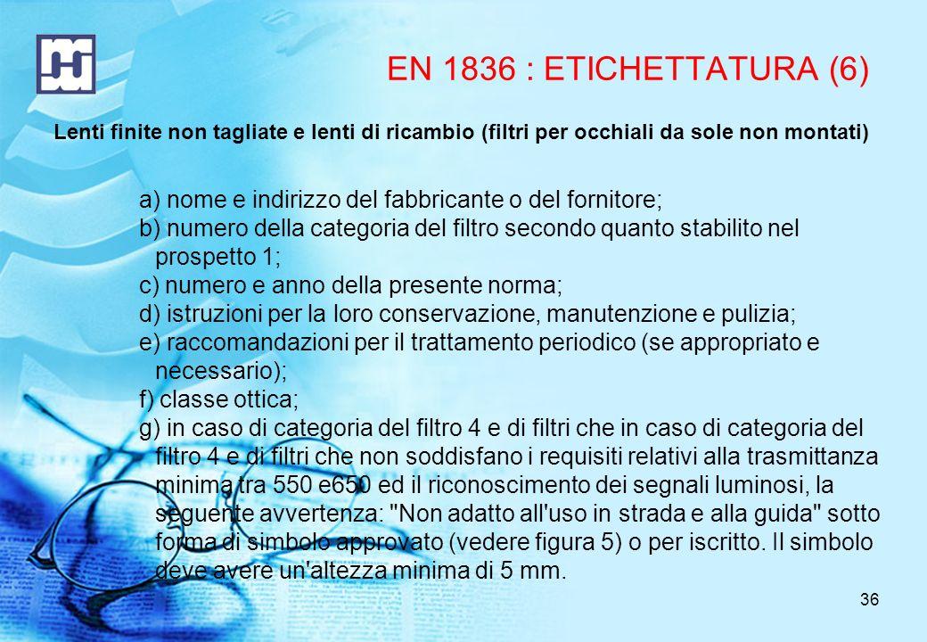 EN 1836 : ETICHETTATURA (6) Lenti finite non tagliate e lenti di ricambio (filtri per occhiali da sole non montati)