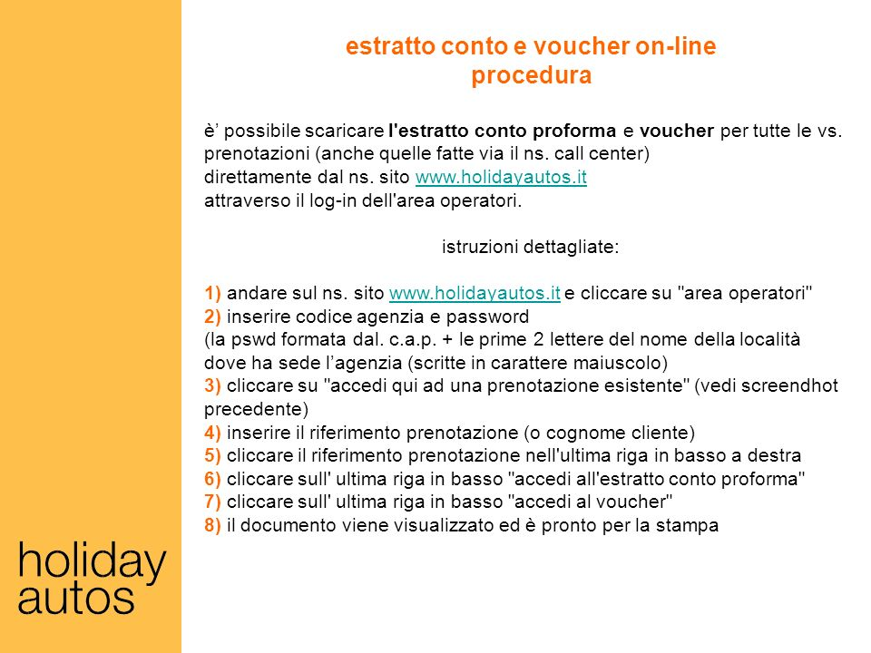 estratto conto e voucher on-line