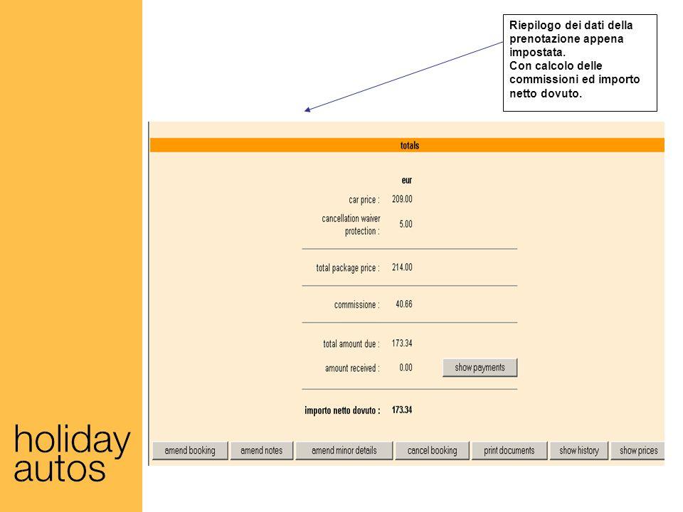 Riepilogo dei dati della prenotazione appena impostata.