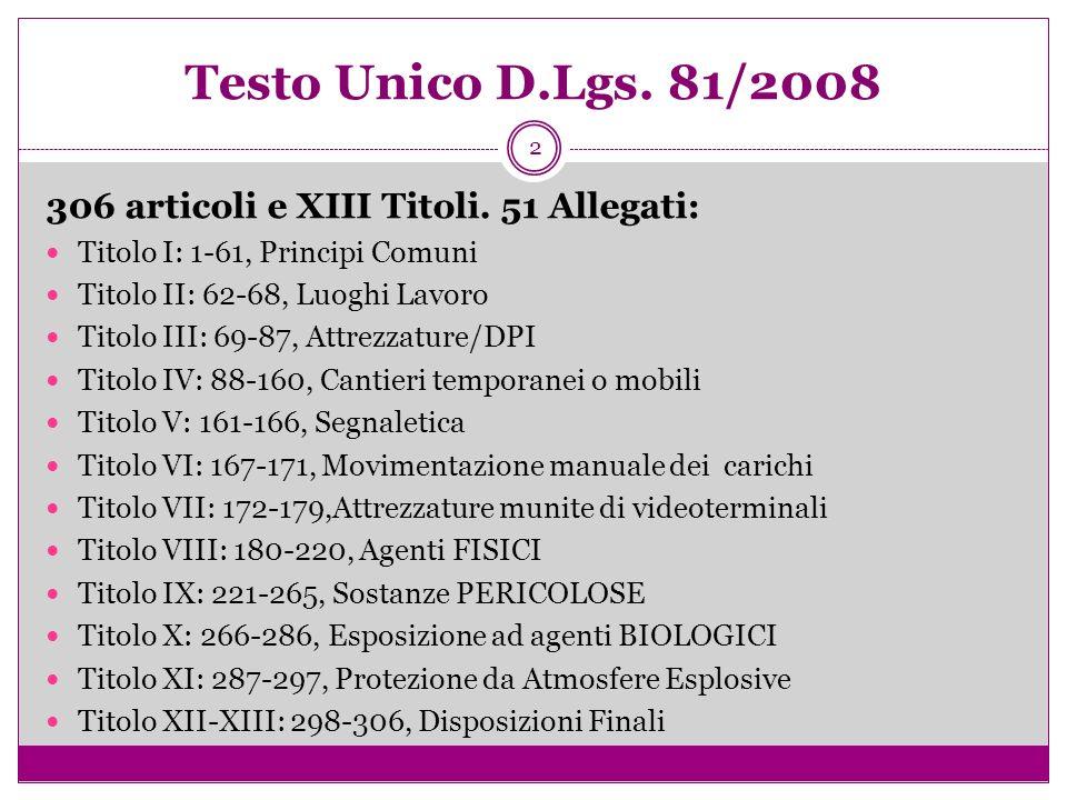 Testo Unico D.Lgs. 81/2008 306 articoli e XIII Titoli. 51 Allegati: