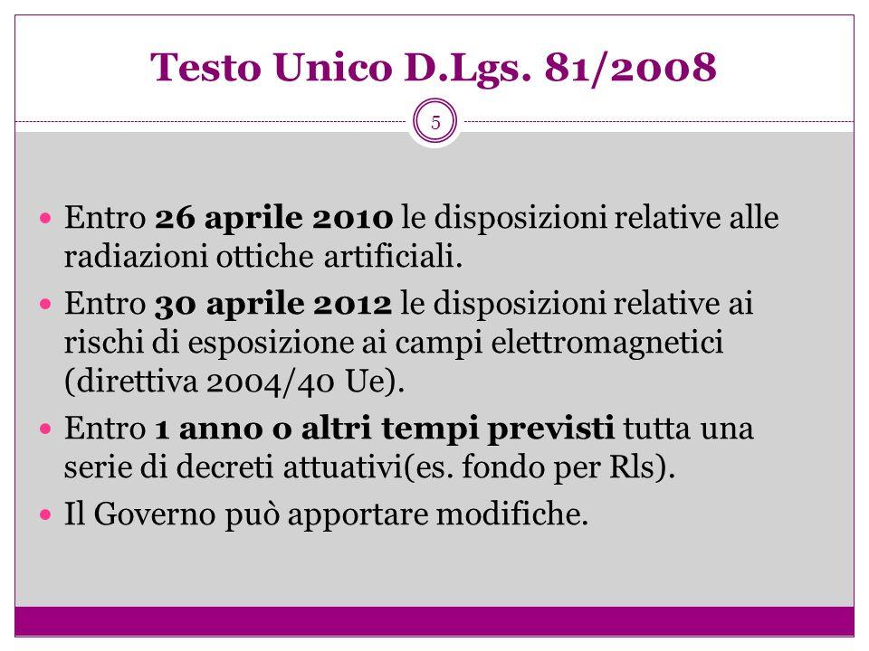 Testo Unico D.Lgs. 81/2008Entro 26 aprile 2010 le disposizioni relative alle radiazioni ottiche artificiali.