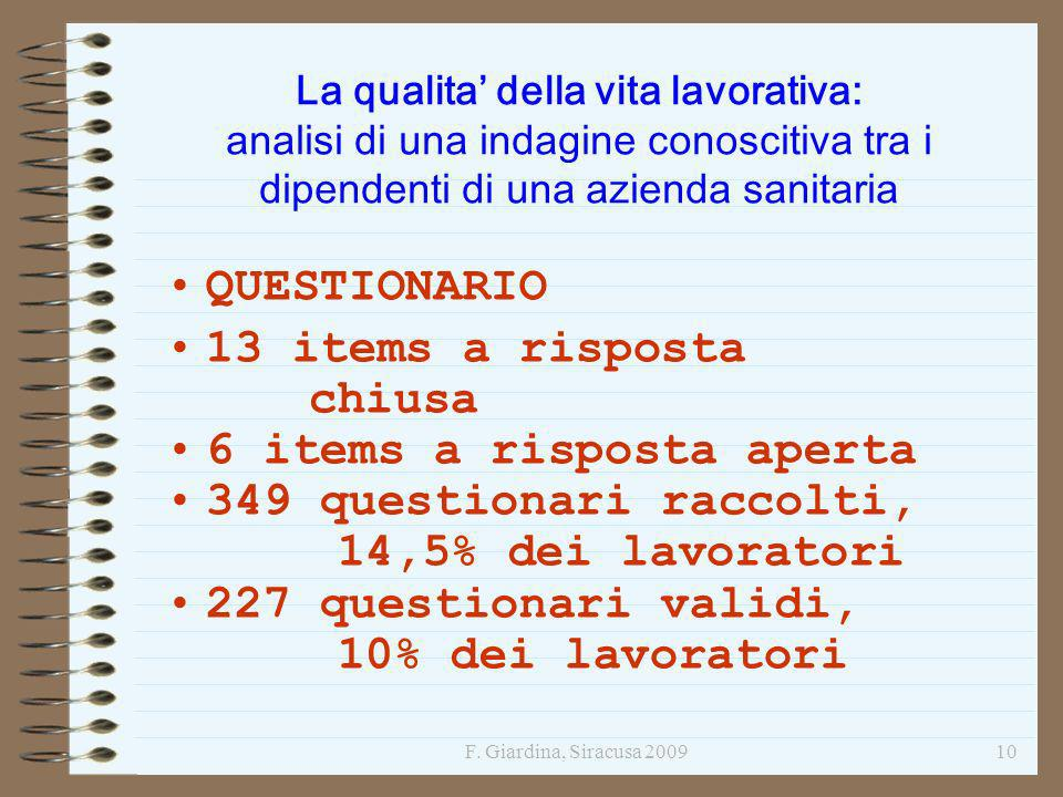6 items a risposta aperta 349 questionari raccolti,