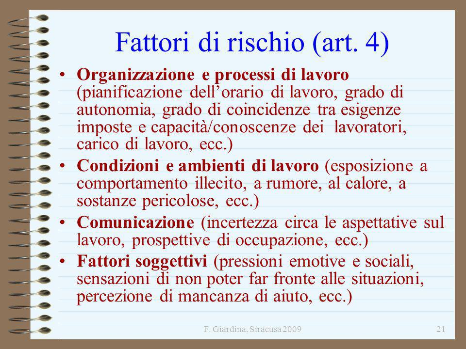Fattori di rischio (art. 4)