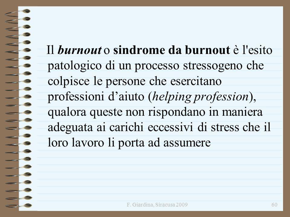 Il burnout o sindrome da burnout è l esito patologico di un processo stressogeno che colpisce le persone che esercitano professioni d'aiuto (helping profession), qualora queste non rispondano in maniera adeguata ai carichi eccessivi di stress che il loro lavoro li porta ad assumere