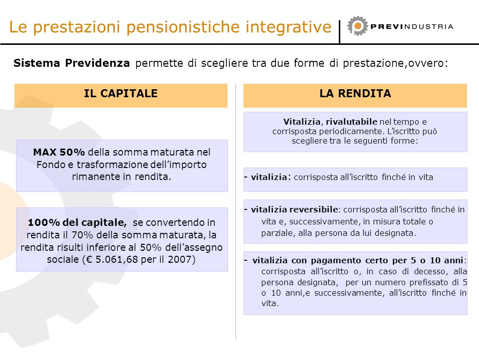 Le prestazioni pensionistiche integrative