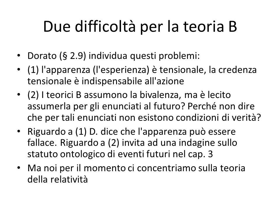 Due difficoltà per la teoria B