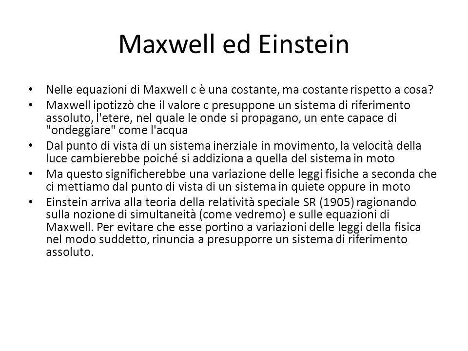 Maxwell ed Einstein Nelle equazioni di Maxwell c è una costante, ma costante rispetto a cosa