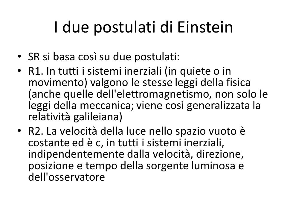 I due postulati di Einstein