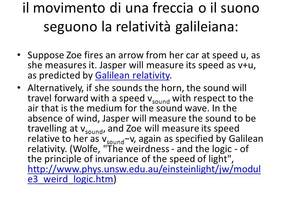 il movimento di una freccia o il suono seguono la relatività galileiana: