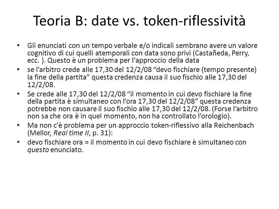 Teoria B: date vs. token-riflessività