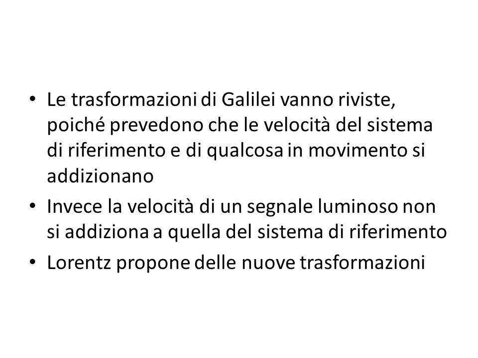 Le trasformazioni di Galilei vanno riviste, poiché prevedono che le velocità del sistema di riferimento e di qualcosa in movimento si addizionano