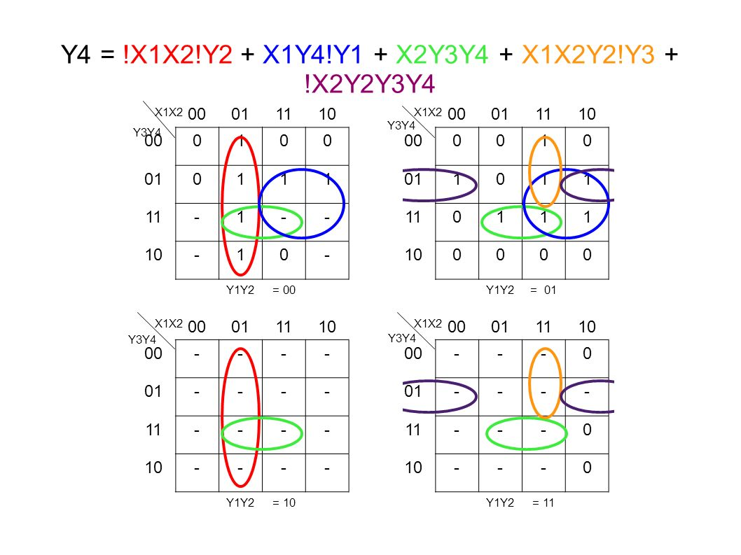 Y4 = !X1X2!Y2 + X1Y4!Y1 + X2Y3Y4 + X1X2Y2!Y3 + !X2Y2Y3Y4