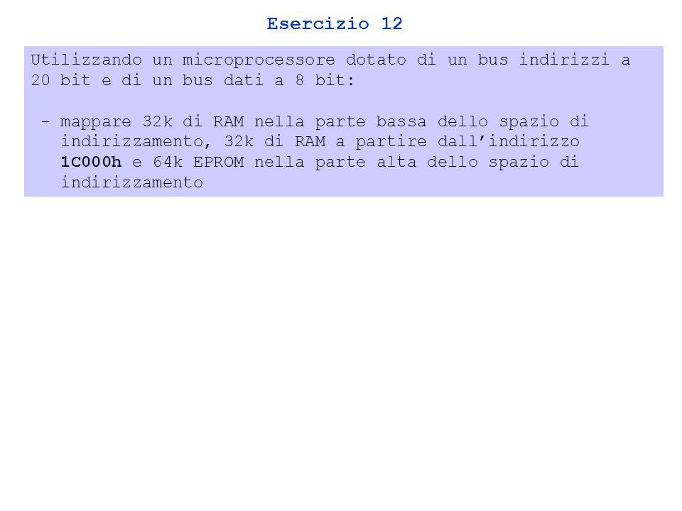 Esercizio 12 Utilizzando un microprocessore dotato di un bus indirizzi a 20 bit e di un bus dati a 8 bit: