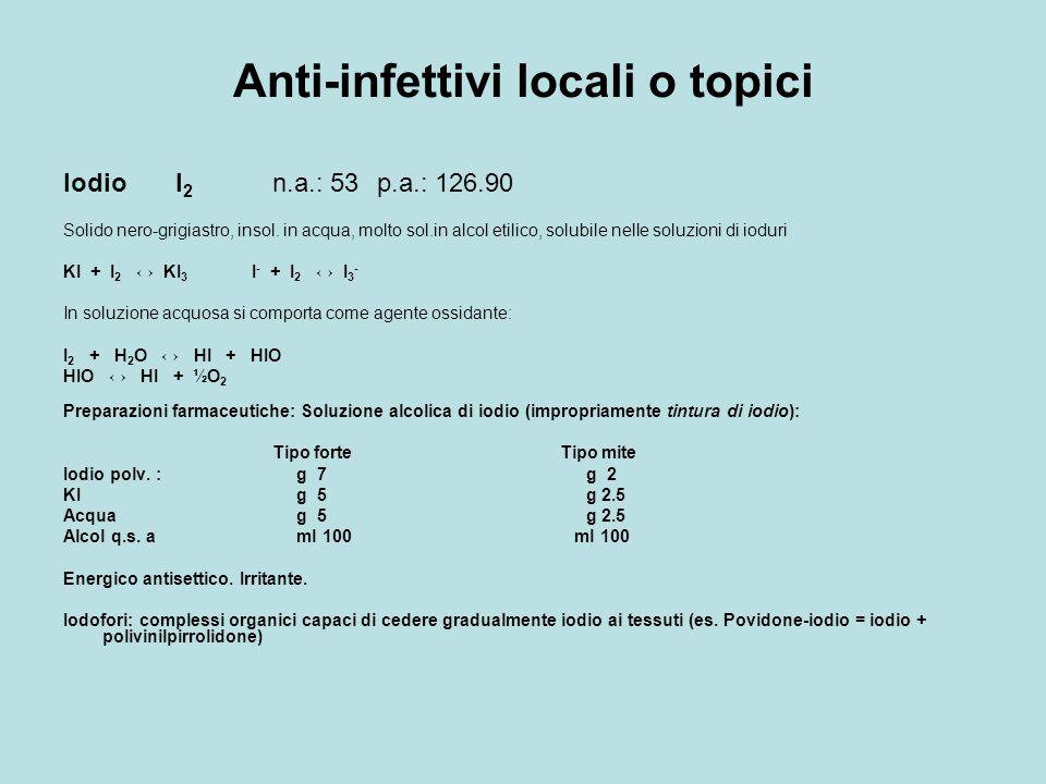 Anti-infettivi locali o topici