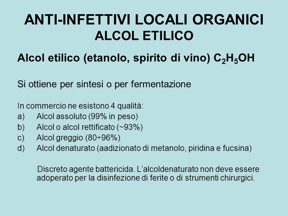 ANTI-INFETTIVI LOCALI ORGANICI ALCOL ETILICO