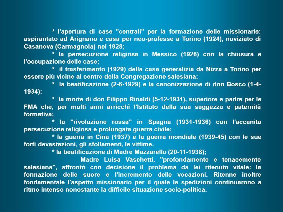 * la beatificazione di Madre Mazzarello (20-11-1938);