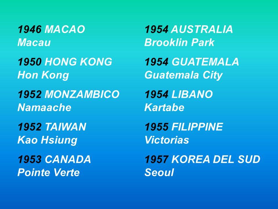 1946 MACAO Macau 1950 HONG KONG Hon Kong. 1952 MONZAMBICO Namaache. 1952 TAIWAN Kao Hsiung.