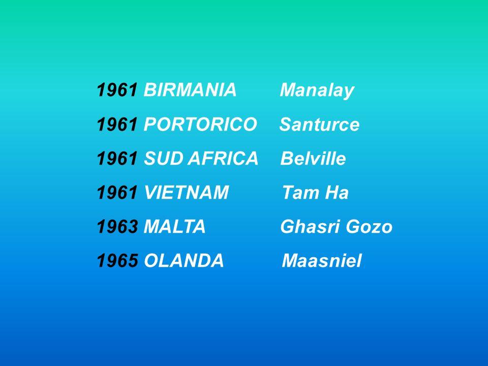 1961 BIRMANIA Manalay 1961 PORTORICO Santurce. 1961 SUD AFRICA Belville. 1961 VIETNAM Tam Ha.