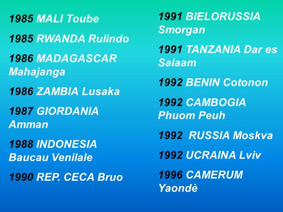 1991 BIELORUSSIA Smorgan 1991 TANZANIA Dar es Salaam. 1992 BENIN Cotonon. 1992 CAMBOGIA Phuom Peuh.