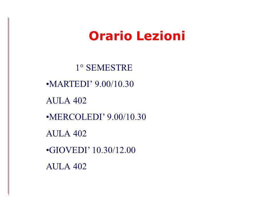 Orario Lezioni 1° SEMESTRE MARTEDI' 9.00/10.30 AULA 402