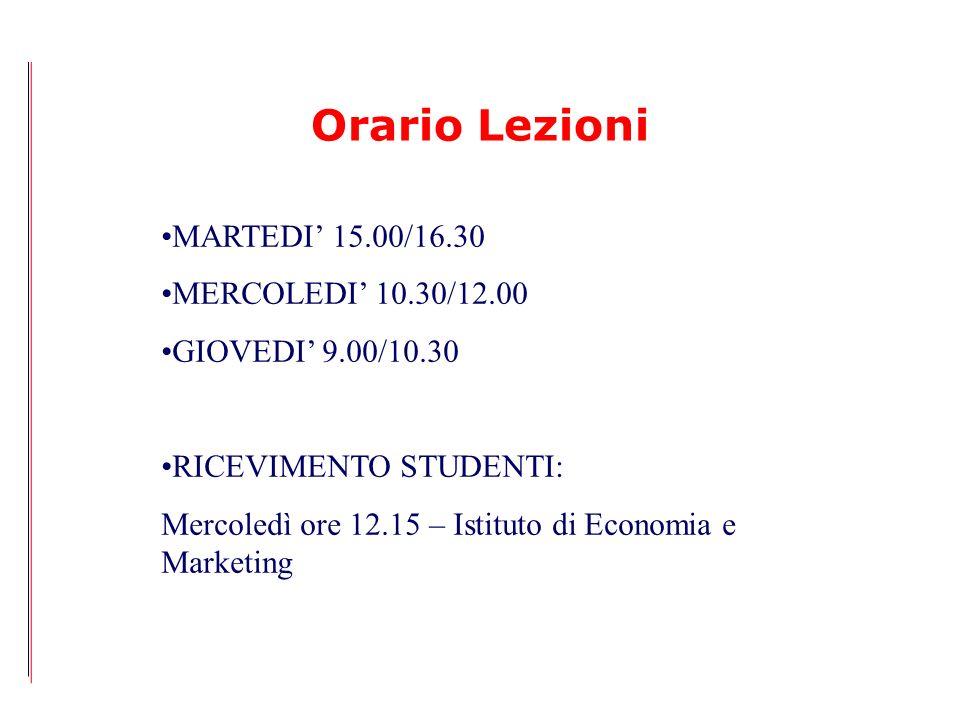 Orario Lezioni MARTEDI' 15.00/16.30 MERCOLEDI' 10.30/12.00