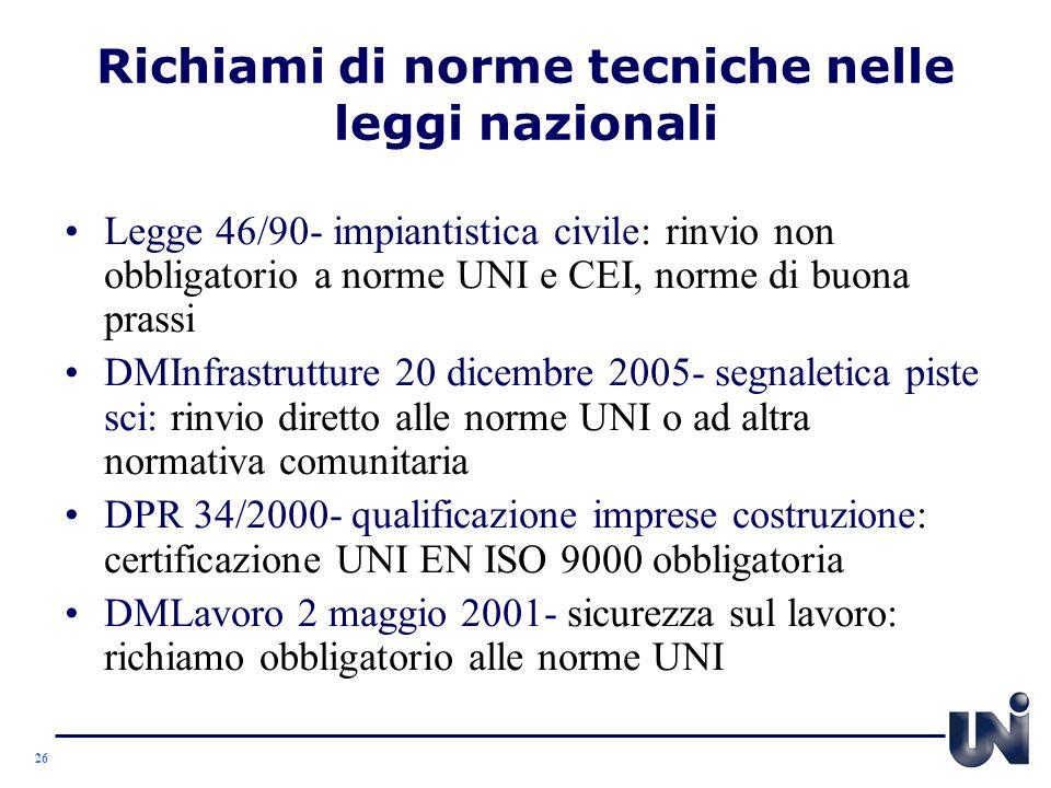 Richiami di norme tecniche nelle leggi nazionali