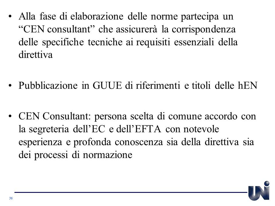 Alla fase di elaborazione delle norme partecipa un CEN consultant che assicurerà la corrispondenza delle specifiche tecniche ai requisiti essenziali della direttiva