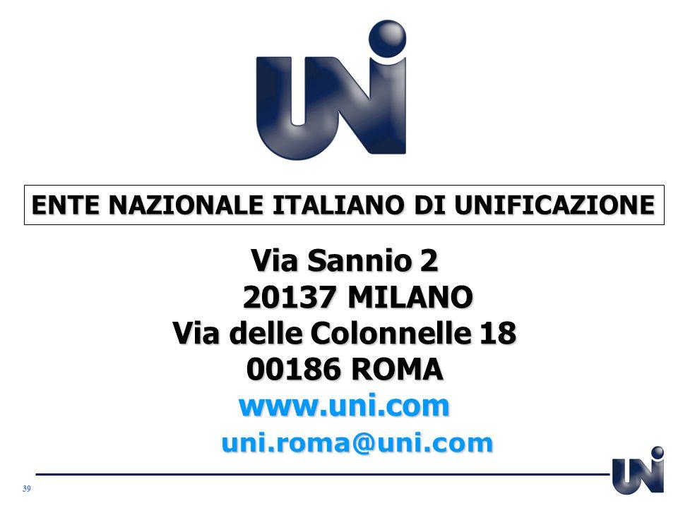 Via Sannio 2 20137 MILANO Via delle Colonnelle 18 00186 ROMA