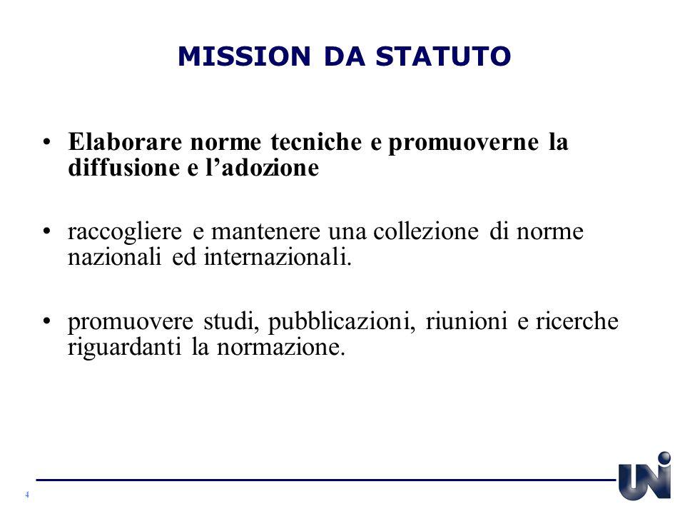 MISSION DA STATUTO Elaborare norme tecniche e promuoverne la diffusione e l'adozione.