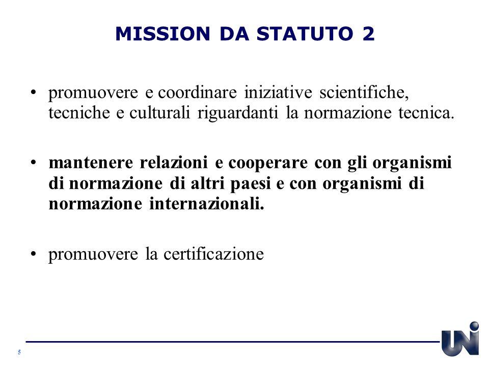 MISSION DA STATUTO 2 promuovere e coordinare iniziative scientifiche, tecniche e culturali riguardanti la normazione tecnica.
