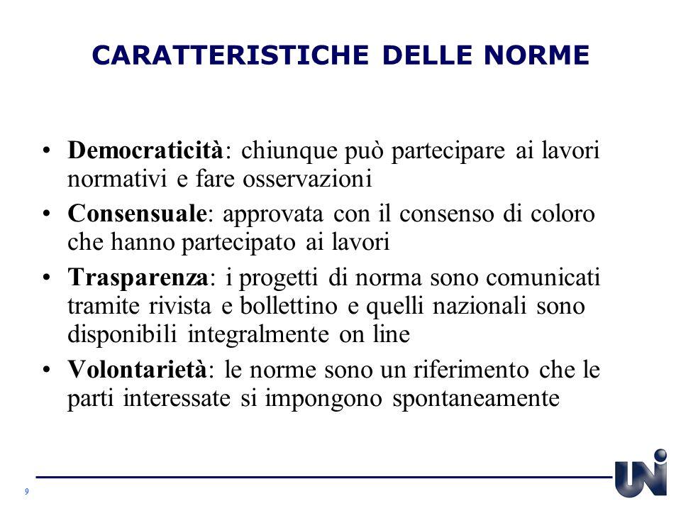 CARATTERISTICHE DELLE NORME