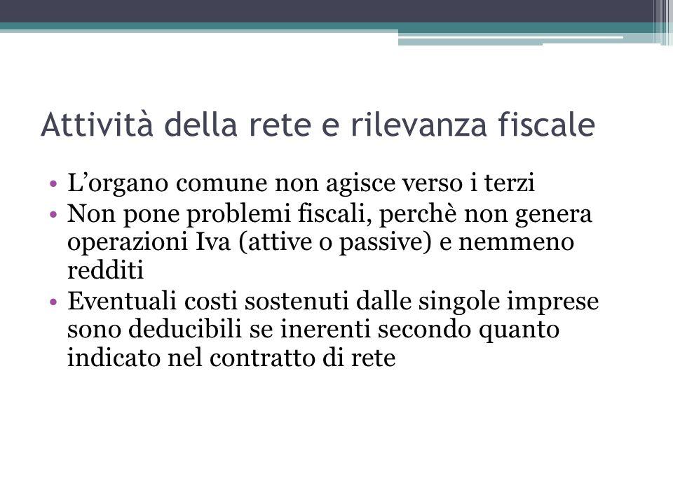 Attività della rete e rilevanza fiscale