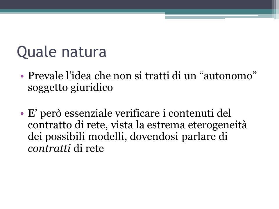 Quale natura Prevale l'idea che non si tratti di un autonomo soggetto giuridico.