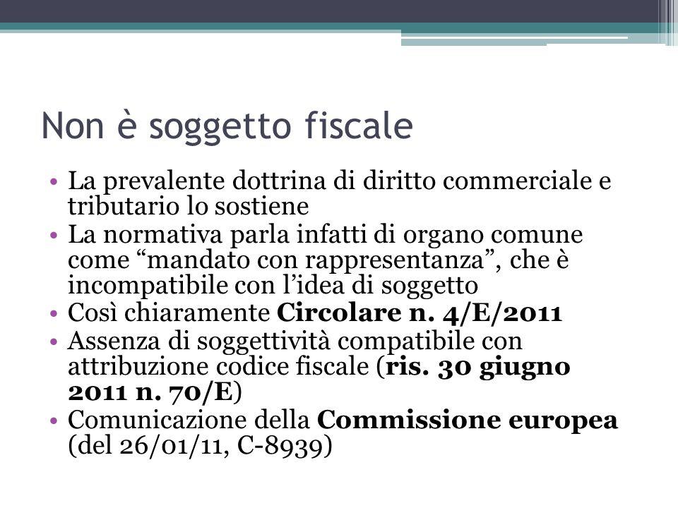 Non è soggetto fiscale La prevalente dottrina di diritto commerciale e tributario lo sostiene.