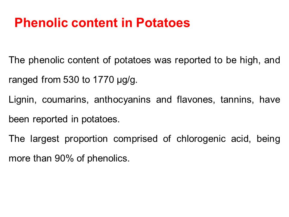 Phenolic content in Potatoes