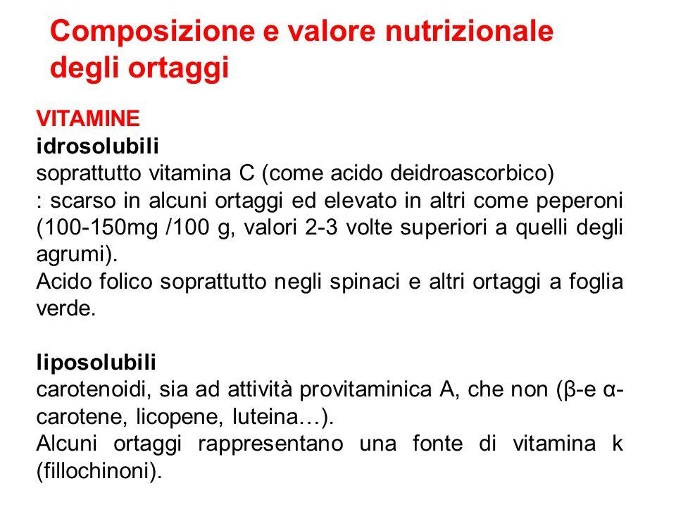 Composizione e valore nutrizionale degli ortaggi