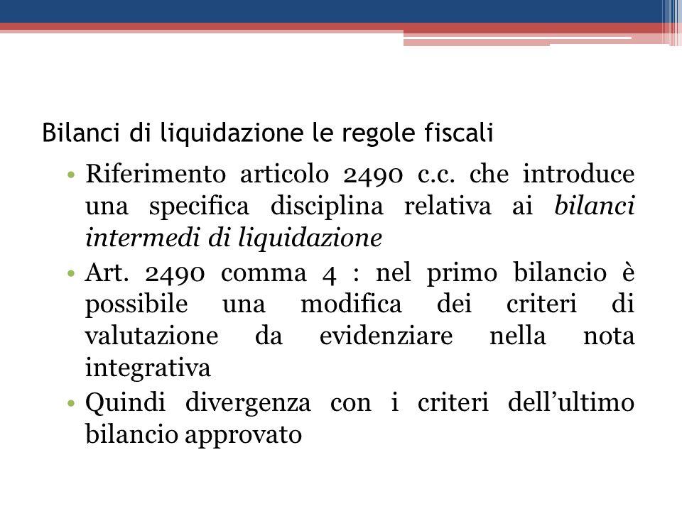 Bilanci di liquidazione le regole fiscali