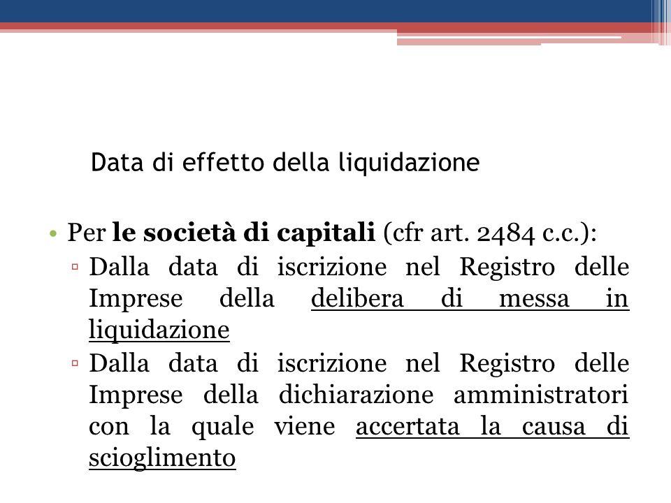 Data di effetto della liquidazione