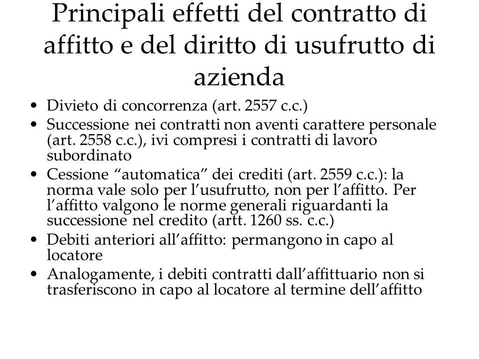 Principali effetti del contratto di affitto e del diritto di usufrutto di azienda