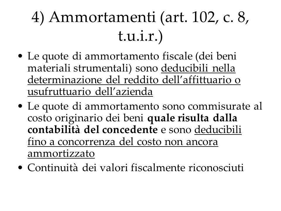 4) Ammortamenti (art. 102, c. 8, t.u.i.r.)