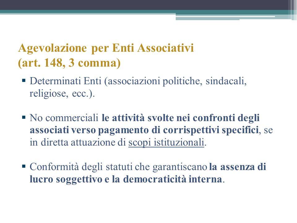 Agevolazione per Enti Associativi (art. 148, 3 comma)
