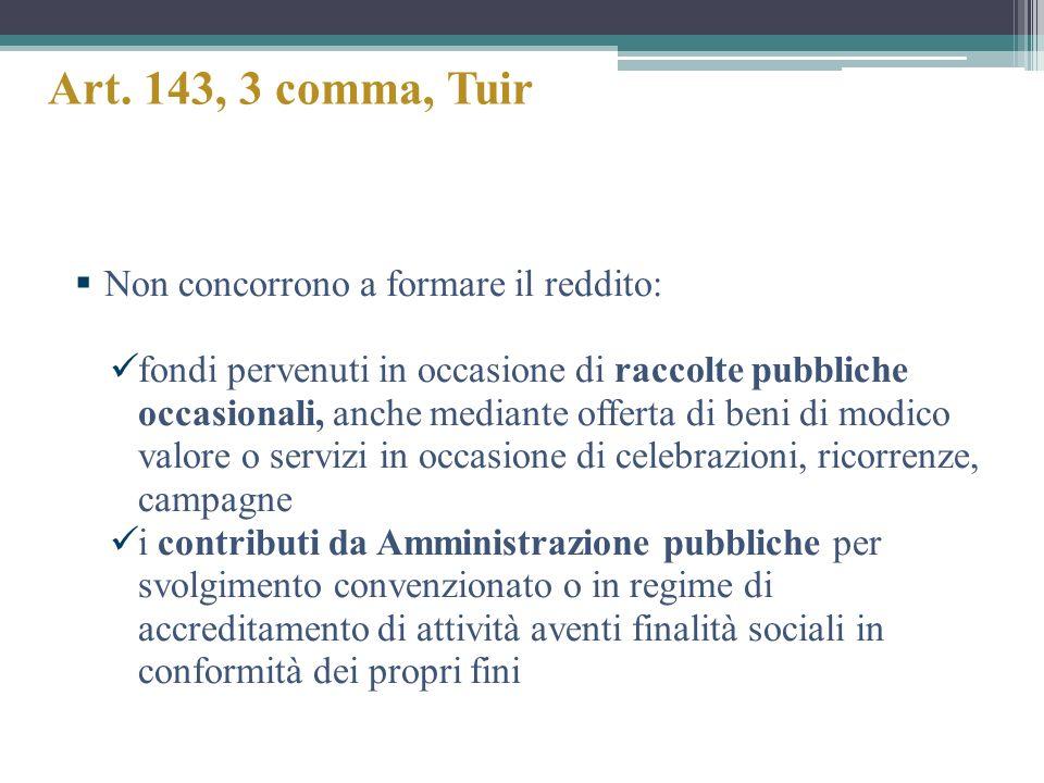 Art. 143, 3 comma, Tuir Non concorrono a formare il reddito: