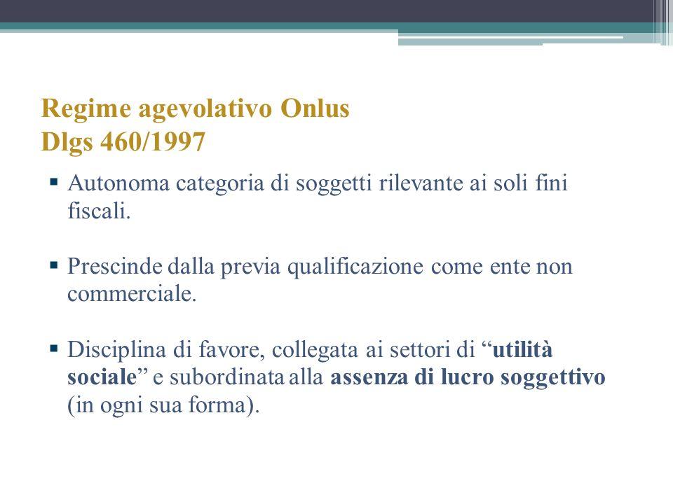 Regime agevolativo Onlus Dlgs 460/1997