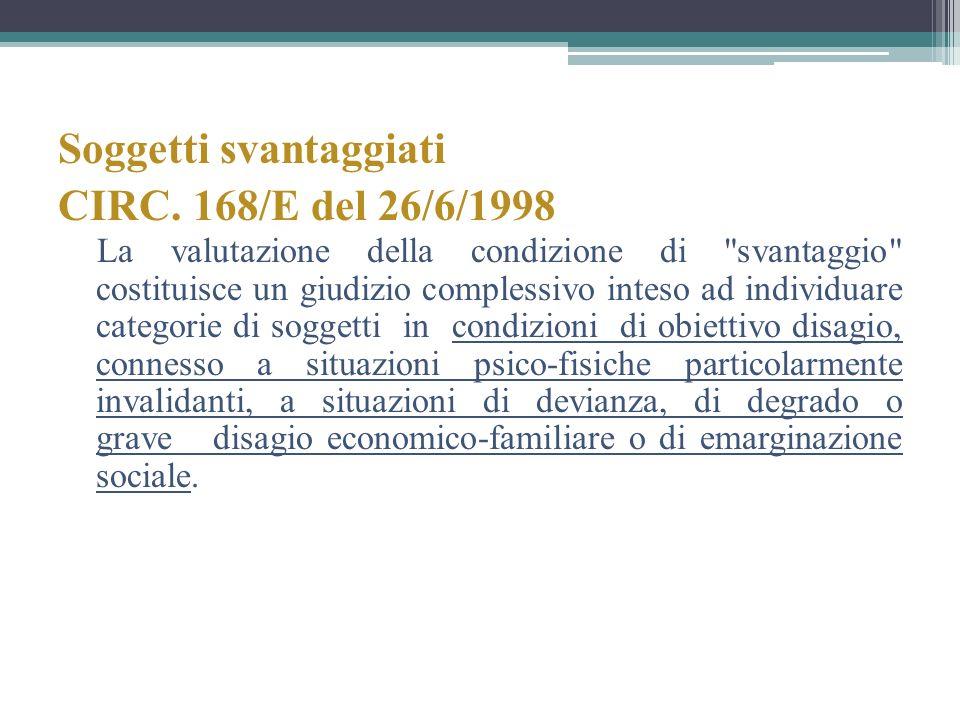 Soggetti svantaggiati CIRC. 168/E del 26/6/1998