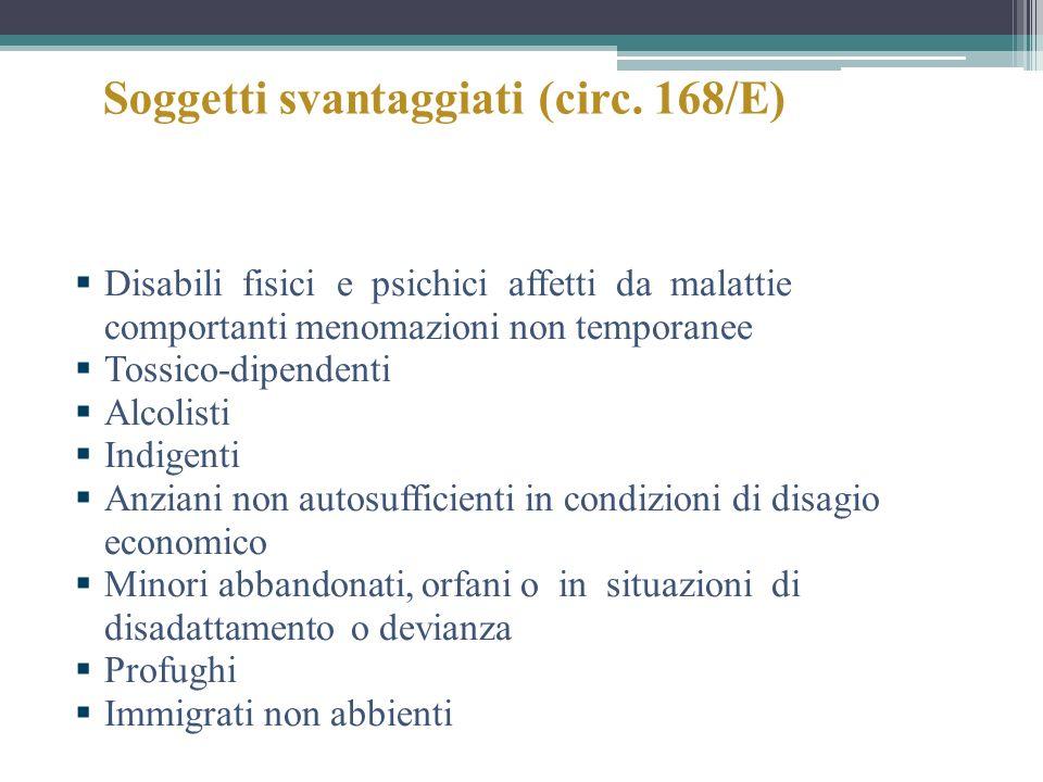 Soggetti svantaggiati (circ. 168/E)