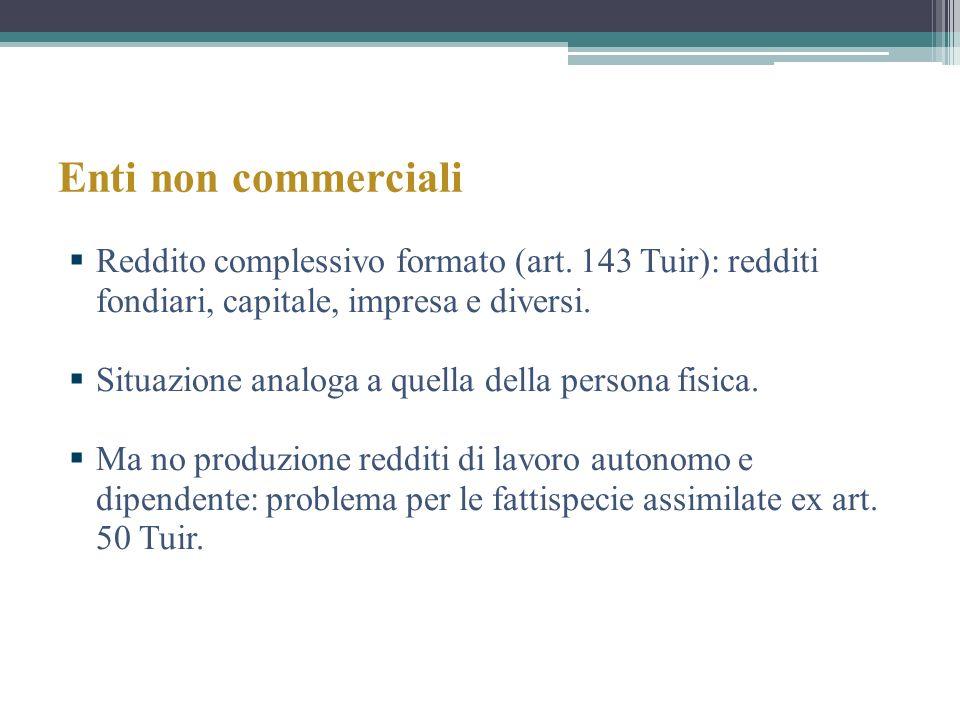 Enti non commerciali Reddito complessivo formato (art. 143 Tuir): redditi fondiari, capitale, impresa e diversi.