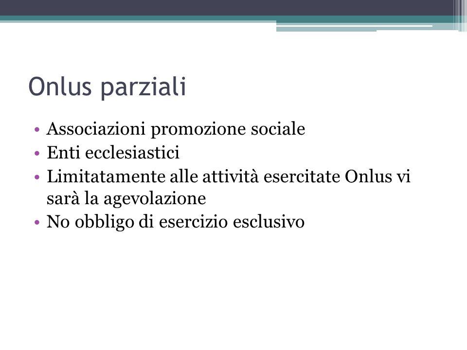 Onlus parziali Associazioni promozione sociale Enti ecclesiastici