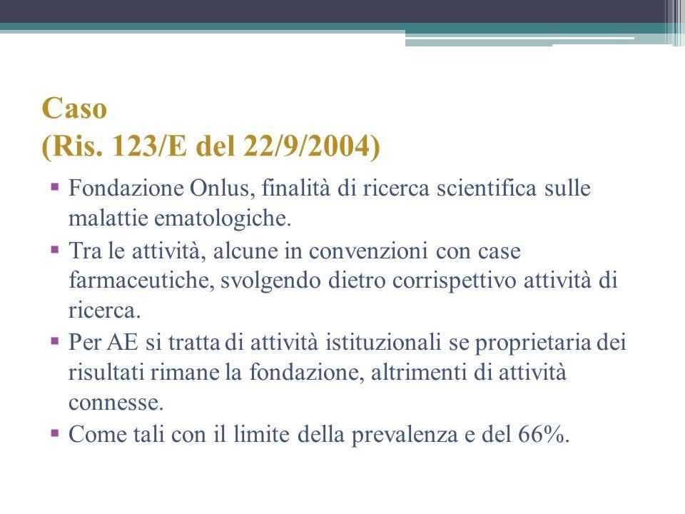 Caso (Ris. 123/E del 22/9/2004) Fondazione Onlus, finalità di ricerca scientifica sulle malattie ematologiche.